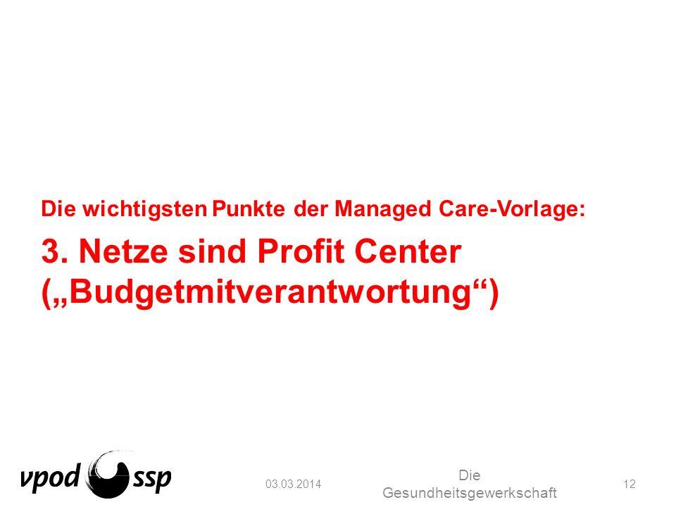 03.03.2014 Die Gesundheitsgewerkschaft 12 Die wichtigsten Punkte der Managed Care-Vorlage: 3. Netze sind Profit Center (Budgetmitverantwortung)