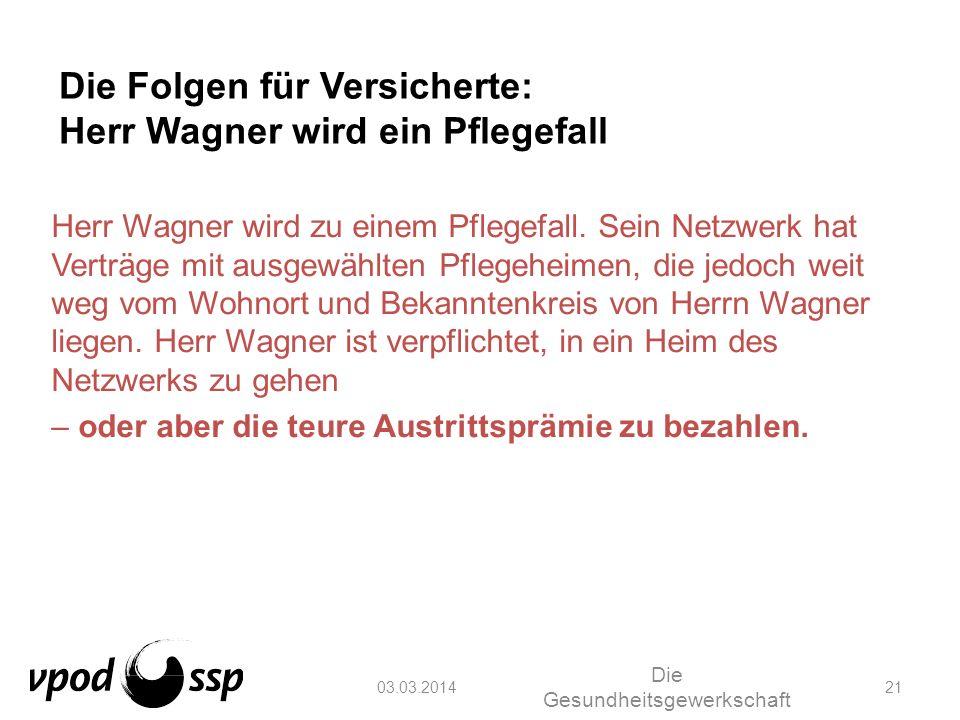 03.03.2014 Die Gesundheitsgewerkschaft 21 Die Folgen für Versicherte: Herr Wagner wird ein Pflegefall Herr Wagner wird zu einem Pflegefall. Sein Netzw