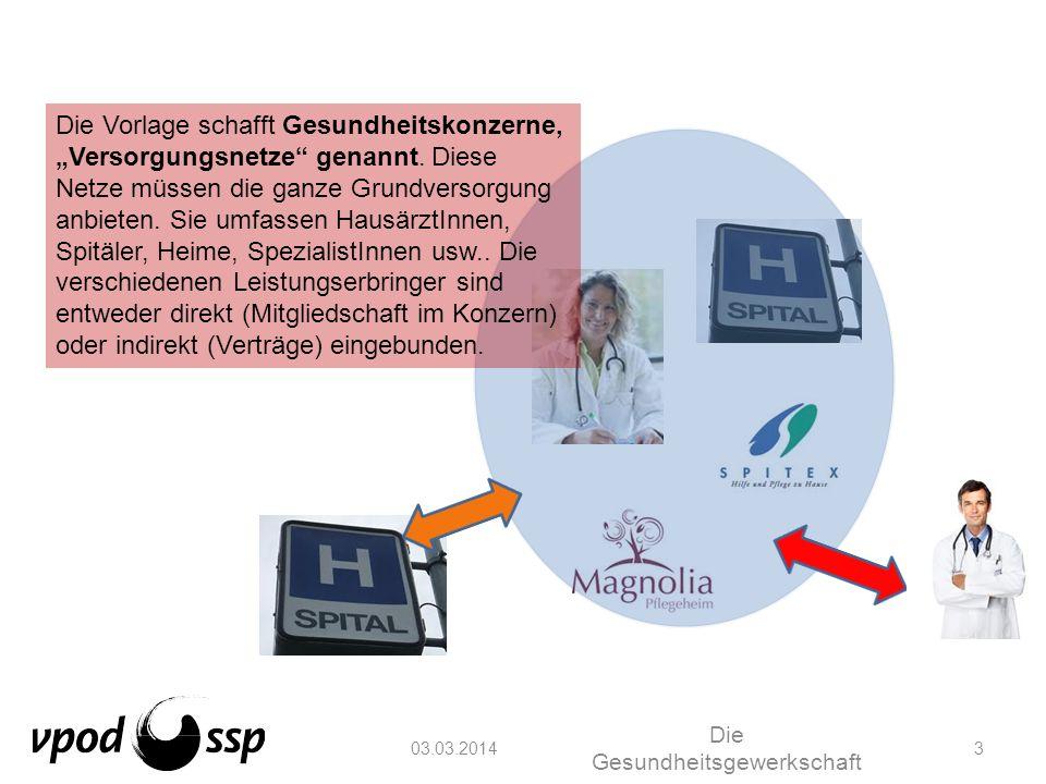 03.03.2014 Die Gesundheitsgewerkschaft 3 Die Vorlage schafft Gesundheitskonzerne, Versorgungsnetze genannt. Diese Netze müssen die ganze Grundversorgu