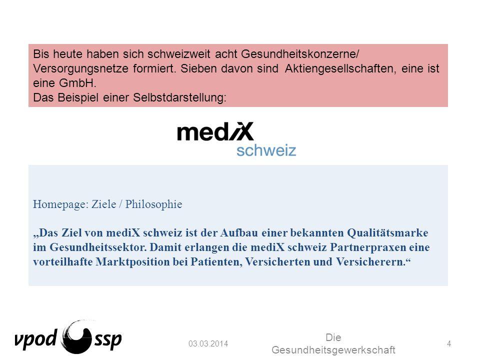 03.03.2014 Die Gesundheitsgewerkschaft 4 Homepage: Ziele / Philosophie Das Ziel von mediX schweiz ist der Aufbau einer bekannten Qualitätsmarke im Ges