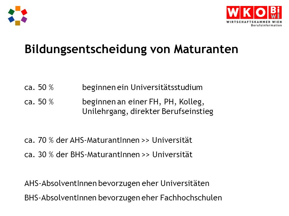 ca. 50 %beginnen ein Universitätsstudium ca.
