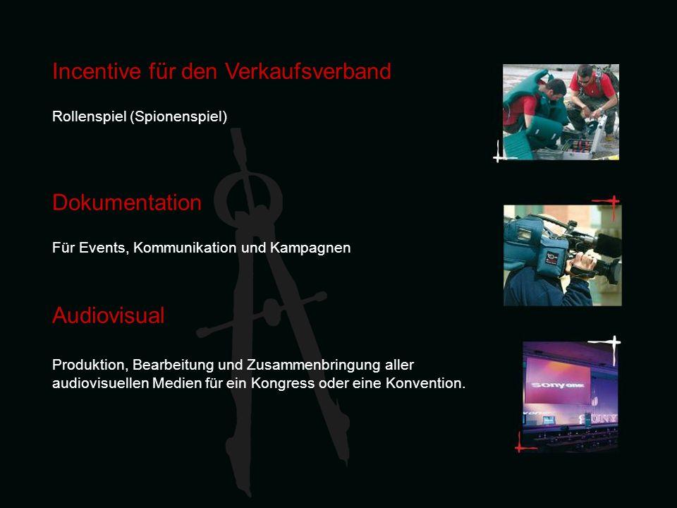 Incentive für den Verkaufsverband Rollenspiel (Spionenspiel) Dokumentation Für Events, Kommunikation und Kampagnen Audiovisual Produktion, Bearbeitung