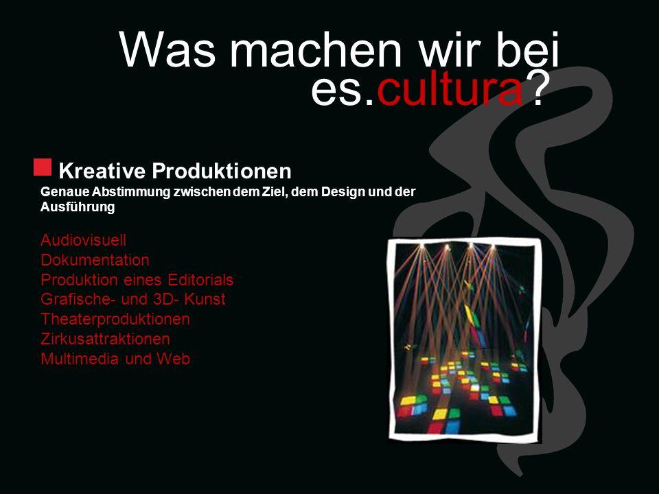 Was machen wir bei es.cultura? Kreative Produktionen Genaue Abstimmung zwischen dem Ziel, dem Design und der Ausführung Audiovisuell Dokumentation Pro