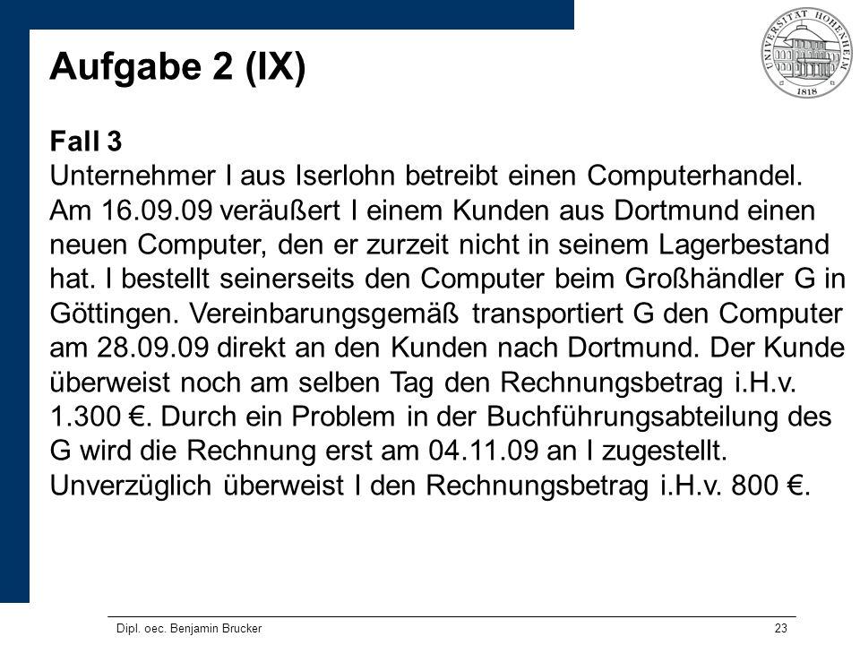 23 Aufgabe 2 (IX) Fall 3 Unternehmer I aus Iserlohn betreibt einen Computerhandel. Am 16.09.09 veräußert I einem Kunden aus Dortmund einen neuen Compu