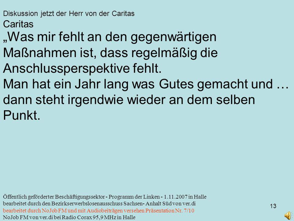 Diskussion jetzt der Herr von der Caritas 13 Öffentlich geförderter Beschäftigungssektor - Programm der Linken - 1.11.2007 in Halle bearbeitet durch d