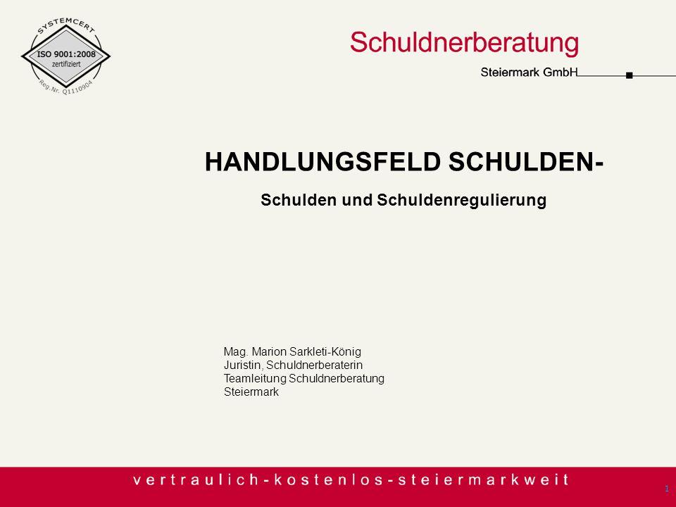 1 Mag. Marion Sarkleti-König Juristin, Schuldnerberaterin Teamleitung Schuldnerberatung Steiermark HANDLUNGSFELD SCHULDEN- Schulden und Schuldenreguli