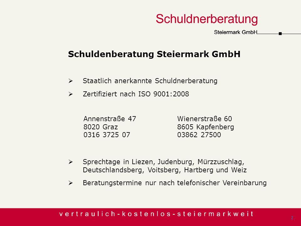 Schuldenberatung Steiermark GmbH Staatlich anerkannte Schuldnerberatung Zertifiziert nach ISO 9001:2008 2 Annenstraße 47 8020 Graz 0316 3725 07 Wiener