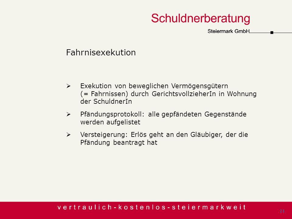 Fahrnisexekution Exekution von beweglichen Vermögensgütern (= Fahrnissen) durch GerichtsvollzieherIn in Wohnung der SchuldnerIn Pfändungsprotokoll: al