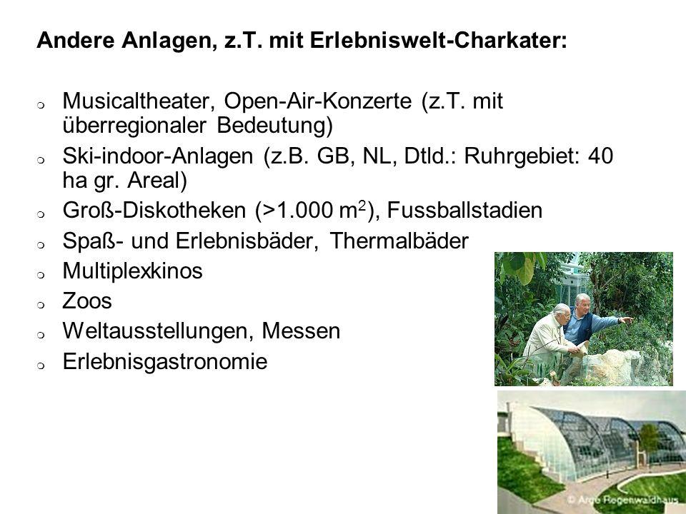 Andere Anlagen, z.T. mit Erlebniswelt-Charkater: Musicaltheater, Open-Air-Konzerte (z.T. mit überregionaler Bedeutung) Ski-indoor-Anlagen (z.B. GB, NL