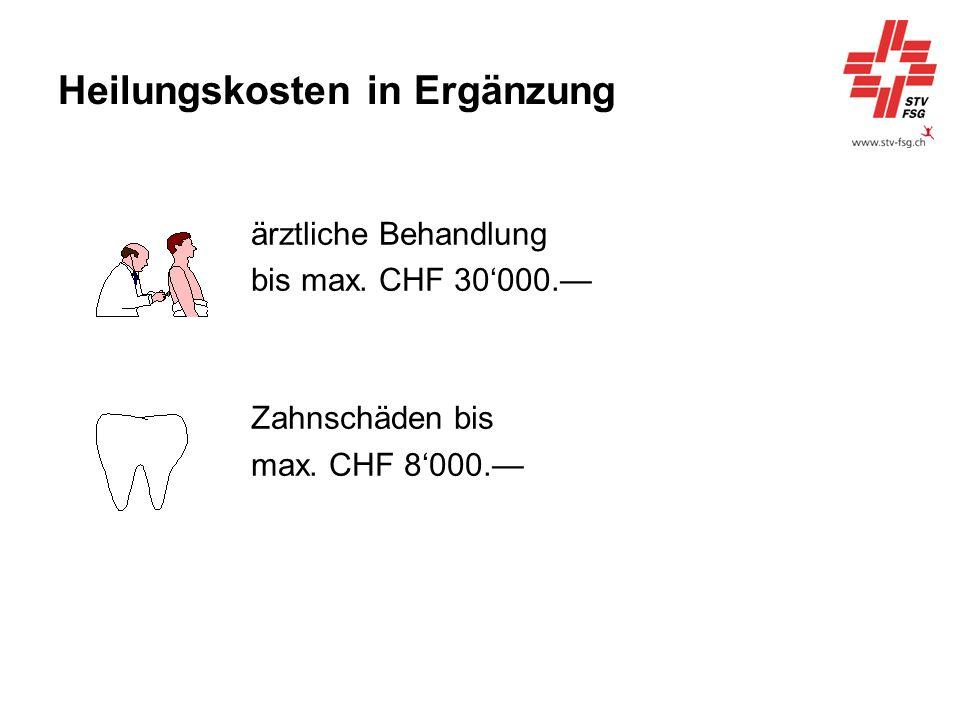 Heilungskosten in Ergänzung ärztliche Behandlung bis max. CHF 30000. Zahnschäden bis max. CHF 8000.
