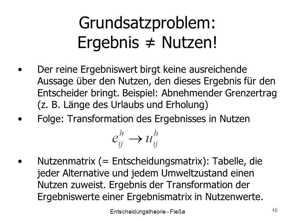 Grundsatzproblem: Ergebnis Nutzen! Der reine Ergebniswert birgt keine ausreichende Aussage über den Nutzen, den dieses Ergebnis für den Entscheider br