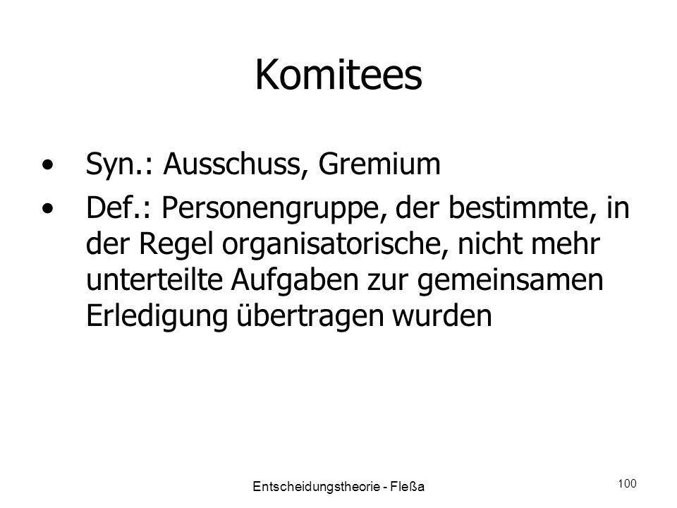Komitees Syn.: Ausschuss, Gremium Def.: Personengruppe, der bestimmte, in der Regel organisatorische, nicht mehr unterteilte Aufgaben zur gemeinsamen