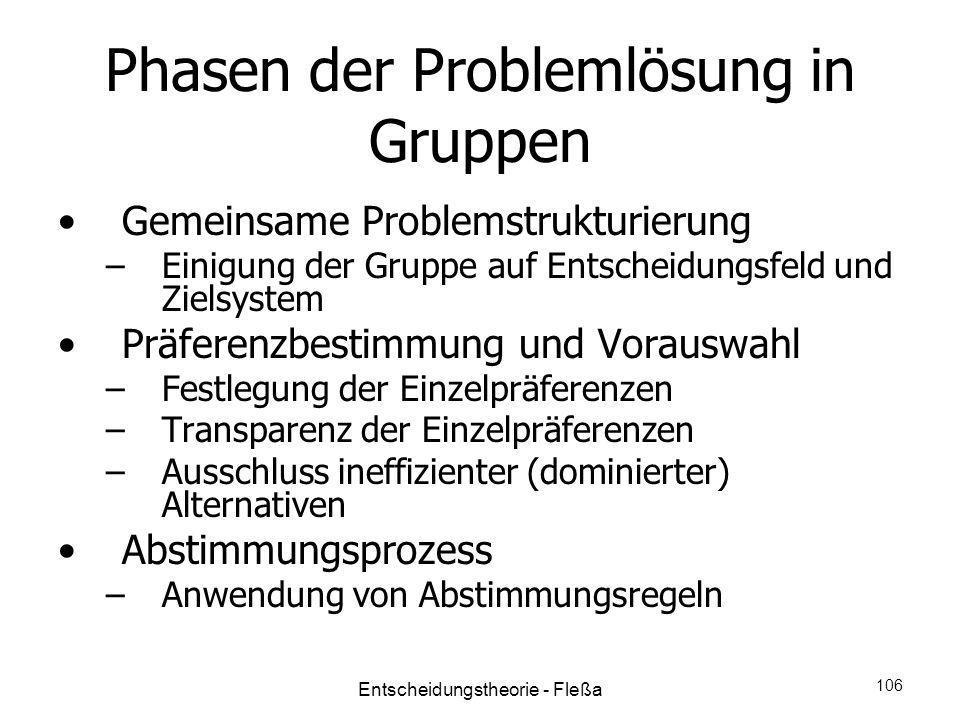 Phasen der Problemlösung in Gruppen Gemeinsame Problemstrukturierung –Einigung der Gruppe auf Entscheidungsfeld und Zielsystem Präferenzbestimmung und