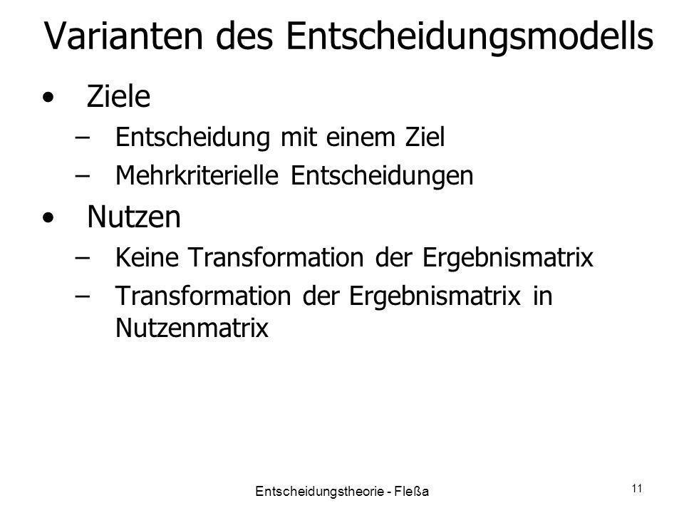 Varianten des Entscheidungsmodells Ziele –Entscheidung mit einem Ziel –Mehrkriterielle Entscheidungen Nutzen –Keine Transformation der Ergebnismatrix