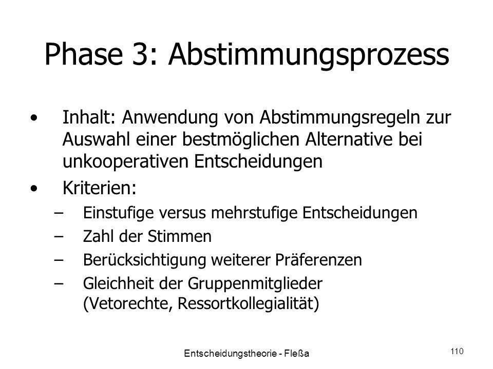 Phase 3: Abstimmungsprozess Inhalt: Anwendung von Abstimmungsregeln zur Auswahl einer bestmöglichen Alternative bei unkooperativen Entscheidungen Krit