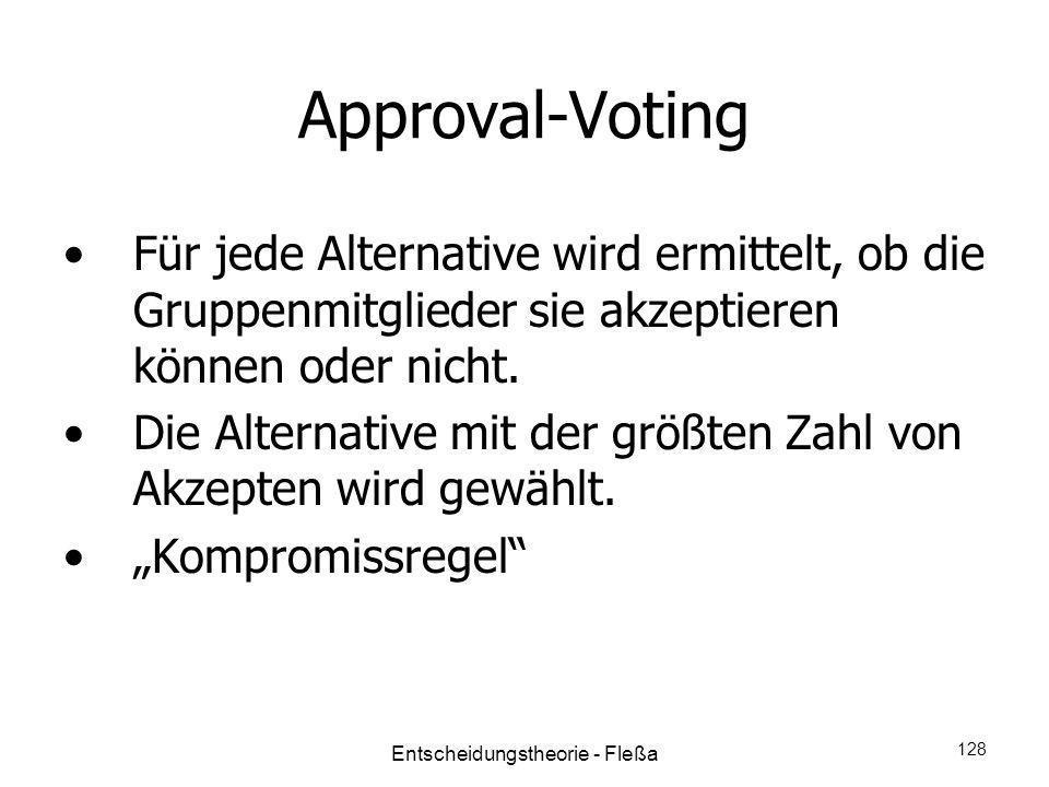 Approval-Voting Für jede Alternative wird ermittelt, ob die Gruppenmitglieder sie akzeptieren können oder nicht. Die Alternative mit der größten Zahl