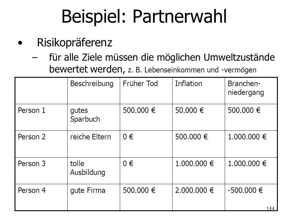 Beispiel: Partnerwahl Risikopräferenz –für alle Ziele müssen die möglichen Umweltzustände bewertet werden, z. B. Lebenseinkommen und -vermögen Beschre