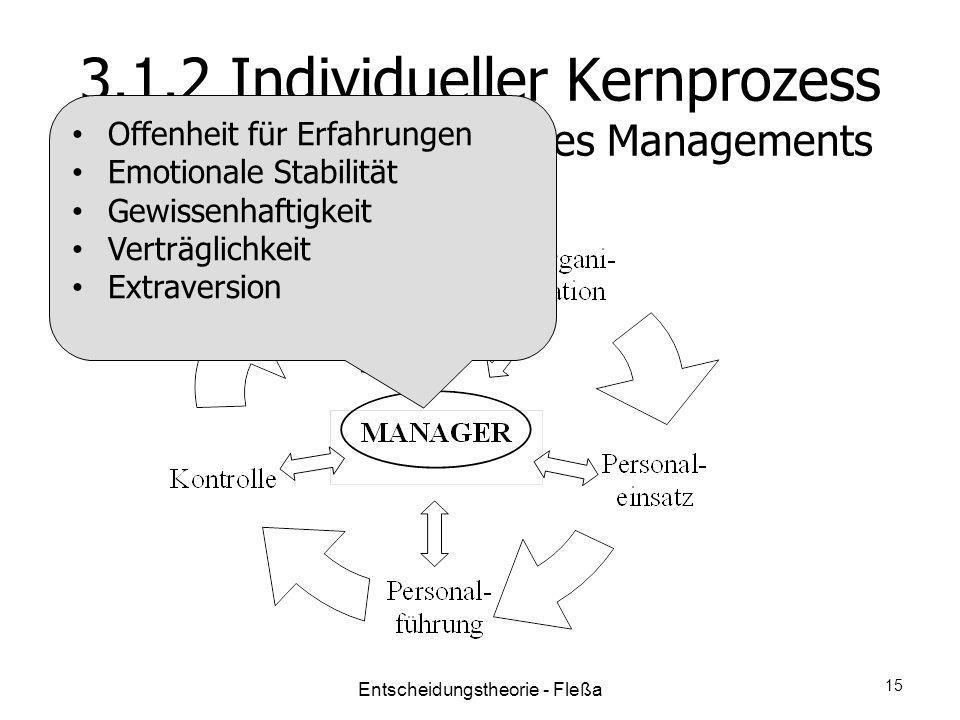 3.1.2 Individueller Kernprozess Funktionale Sichtweise des Managements Offenheit für Erfahrungen Emotionale Stabilität Gewissenhaftigkeit Verträglichk