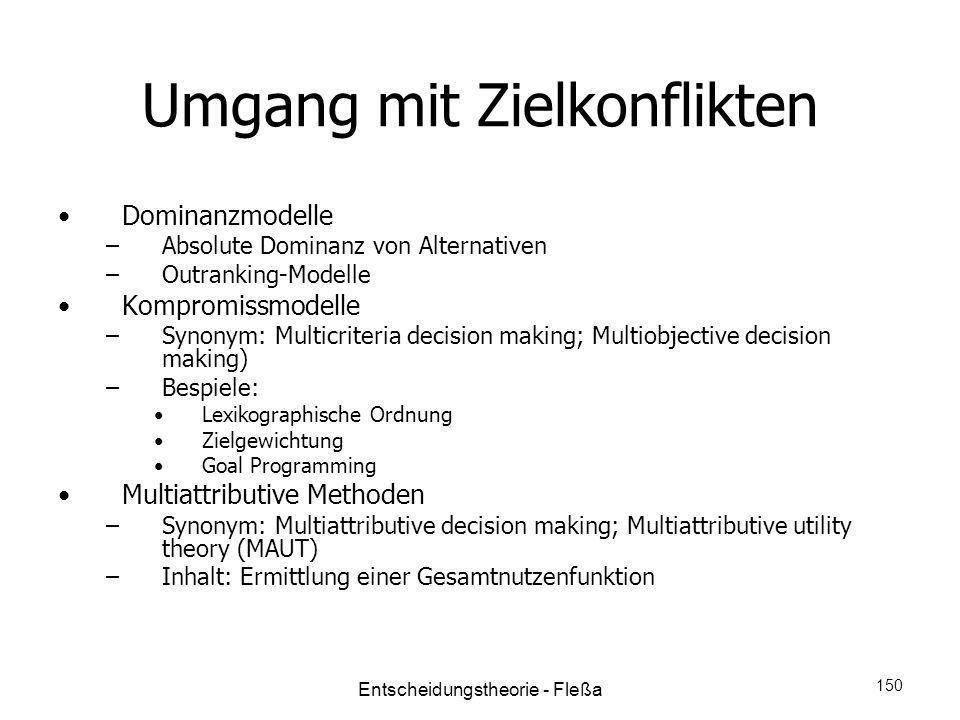 Umgang mit Zielkonflikten Dominanzmodelle –Absolute Dominanz von Alternativen –Outranking-Modelle Kompromissmodelle –Synonym: Multicriteria decision m