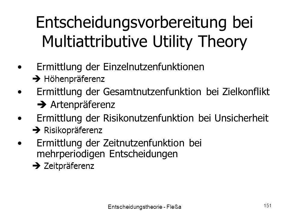 Entscheidungsvorbereitung bei Multiattributive Utility Theory Ermittlung der Einzelnutzenfunktionen Höhenpräferenz Ermittlung der Gesamtnutzenfunktion