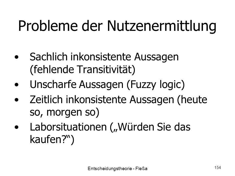Probleme der Nutzenermittlung Sachlich inkonsistente Aussagen (fehlende Transitivität) Unscharfe Aussagen (Fuzzy logic) Zeitlich inkonsistente Aussage
