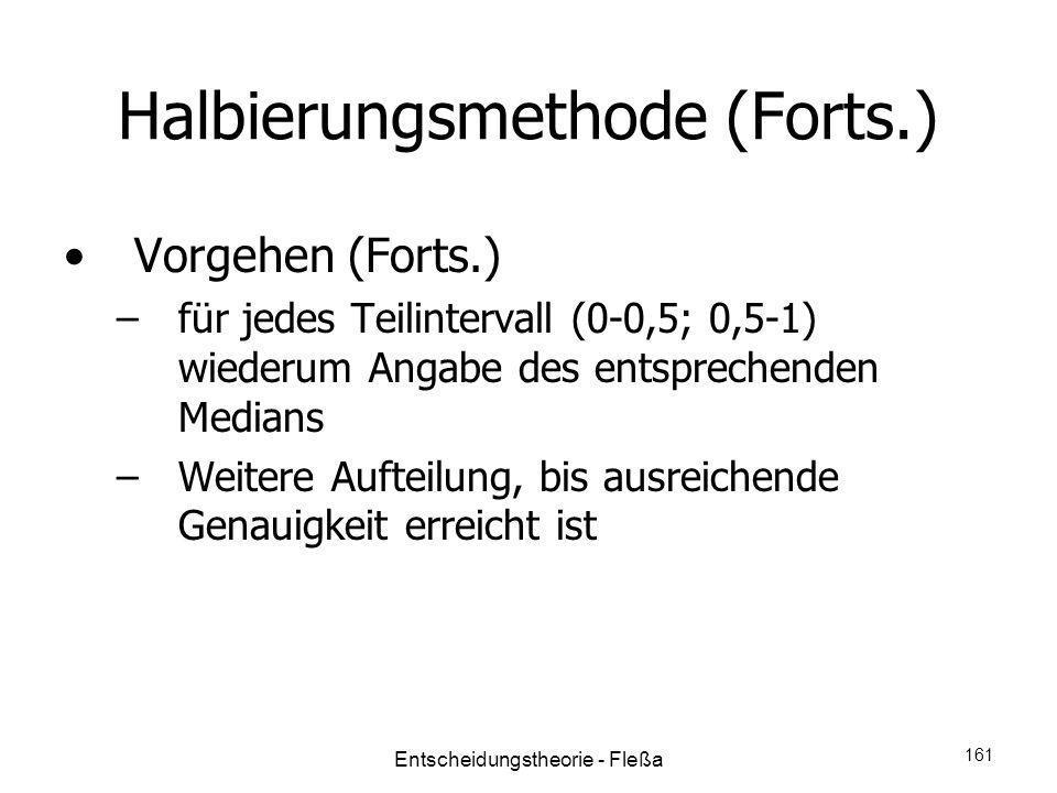Halbierungsmethode (Forts.) Vorgehen (Forts.) –für jedes Teilintervall (0-0,5; 0,5-1) wiederum Angabe des entsprechenden Medians –Weitere Aufteilung,