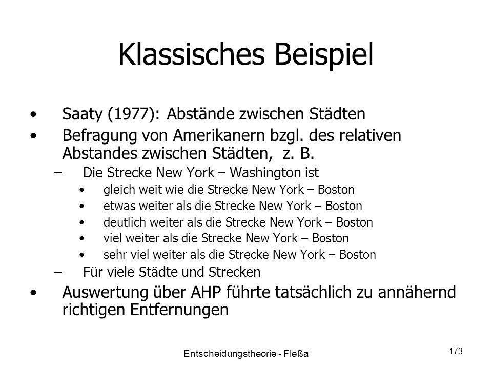 Klassisches Beispiel Saaty (1977): Abstände zwischen Städten Befragung von Amerikanern bzgl. des relativen Abstandes zwischen Städten, z. B. –Die Stre