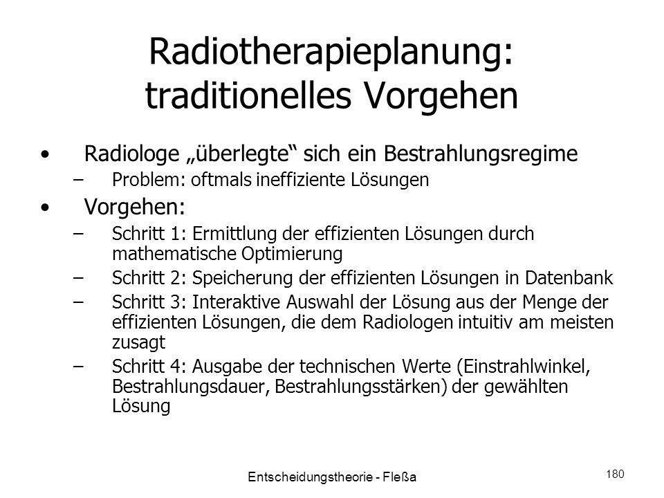 Radiotherapieplanung: traditionelles Vorgehen Radiologe überlegte sich ein Bestrahlungsregime –Problem: oftmals ineffiziente Lösungen Vorgehen: –Schri
