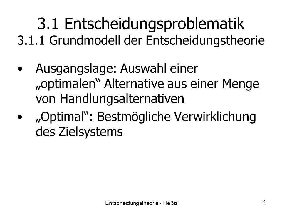 3.1 Entscheidungsproblematik 3.1.1 Grundmodell der Entscheidungstheorie Ausgangslage: Auswahl einer optimalen Alternative aus einer Menge von Handlung