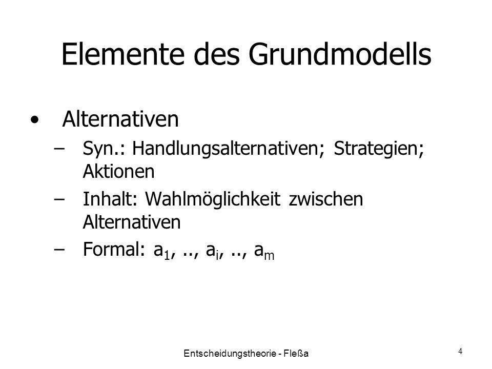 Elemente des Grundmodells Alternativen –Syn.: Handlungsalternativen; Strategien; Aktionen –Inhalt: Wahlmöglichkeit zwischen Alternativen –Formal: a 1,