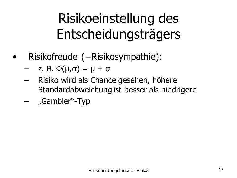 Risikoeinstellung des Entscheidungsträgers Risikofreude (=Risikosympathie): –z. B. Φ(μ,σ) = μ + σ –Risiko wird als Chance gesehen, höhere Standardabwe