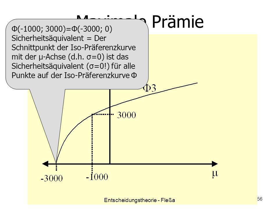Maximale Prämie Φ(-1000; 3000)=Φ(-3000; 0) Sicherheitsäquivalent = Der Schnittpunkt der Iso-Präferenzkurve mit der μ-Achse (d.h. σ=0) ist das Sicherhe