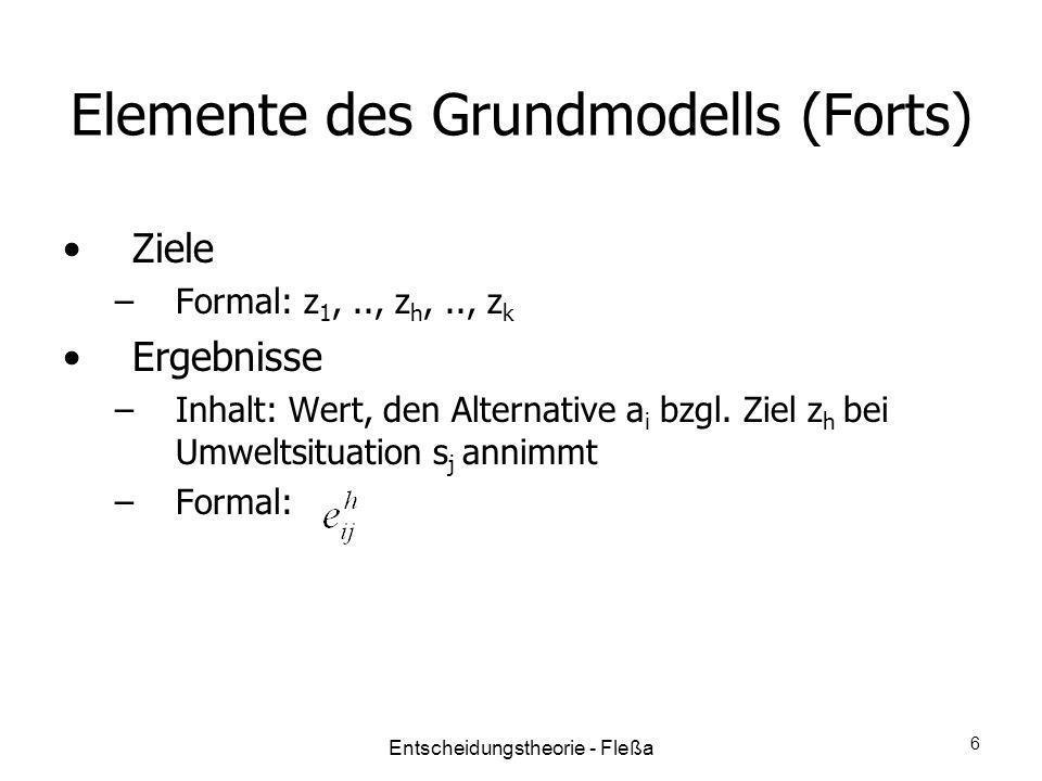 Elemente des Grundmodells (Forts) Ziele –Formal: z 1,.., z h,.., z k Ergebnisse –Inhalt: Wert, den Alternative a i bzgl. Ziel z h bei Umweltsituation