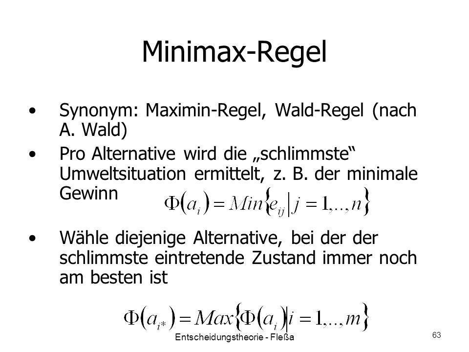 Minimax-Regel Synonym: Maximin-Regel, Wald-Regel (nach A. Wald) Pro Alternative wird die schlimmste Umweltsituation ermittelt, z. B. der minimale Gewi