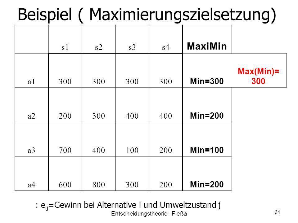 Beispiel ( Maximierungszielsetzung) s1s2s3s4 MaxiMin a1300 Min=300 Max(Min)= 300 a2200300400 Min=200 a3700400100200 Min=100 a4600800300200 Min=200 : e