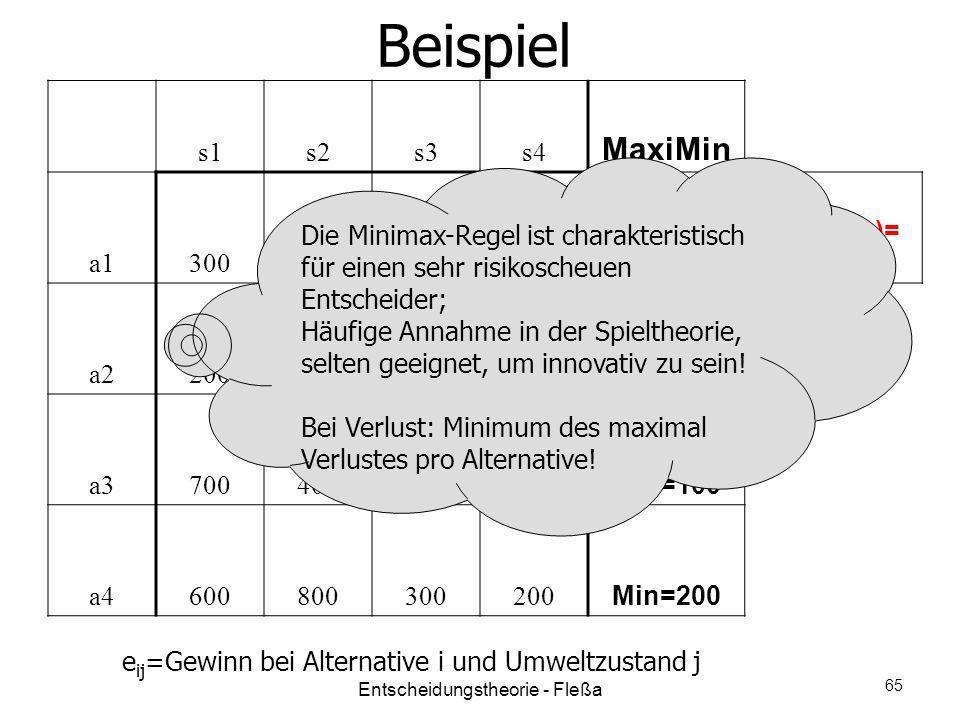 Beispiel s1s2s3s4 MaxiMin a1300 Min=300 Max(Min)= 300 a2200300400 Min=200 a3700400100200 Min=100 a4600800300200 Min=200 e ij =Gewinn bei Alternative i
