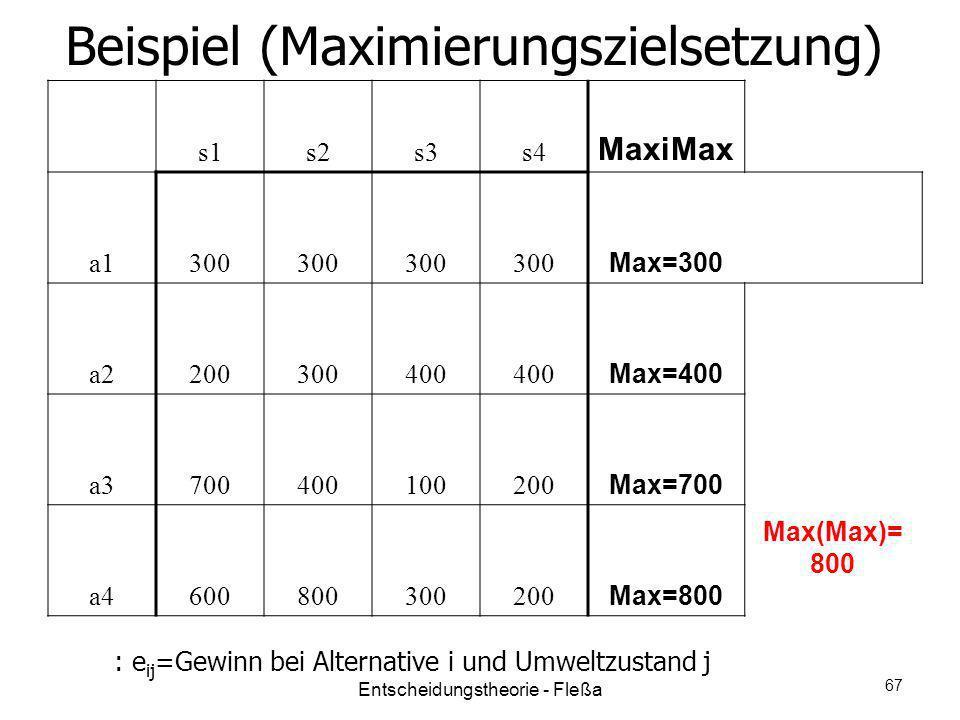 Beispiel (Maximierungszielsetzung) s1s2s3s4 MaxiMax a1300 Max=300 a2200300400 Max=400 a3700400100200 Max=700 a4600800300200 Max=800 Max(Max)= 800 : e