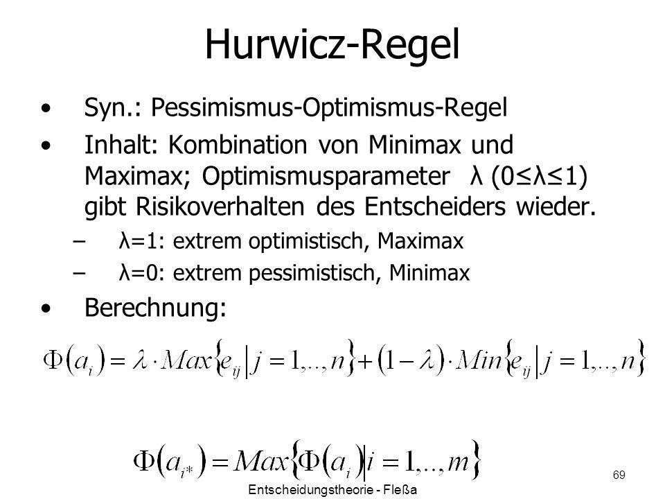 Hurwicz-Regel Syn.: Pessimismus-Optimismus-Regel Inhalt: Kombination von Minimax und Maximax; Optimismusparameter λ (0λ1) gibt Risikoverhalten des Ent