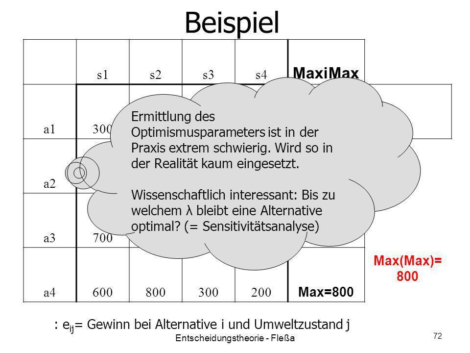 Beispiel s1s2s3s4 MaxiMax a1300 Max=300 a2200300400 Max=400 a3700400100200 Max=700 a4600800300200 Max=800 Max(Max)= 800 : e ij = Gewinn bei Alternativ