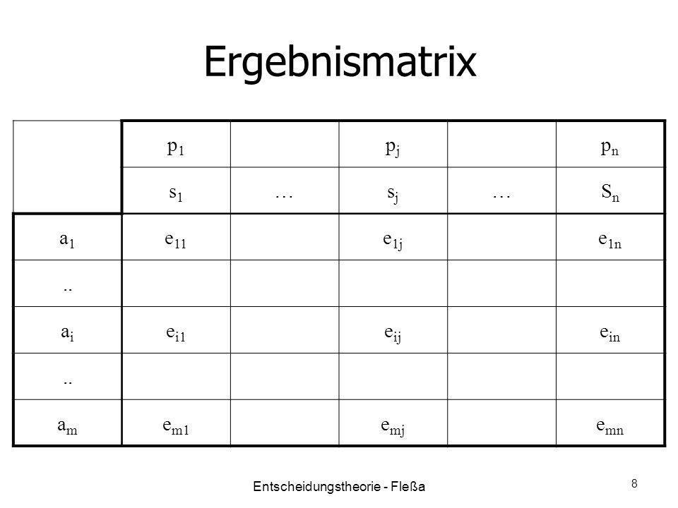 Ergebnismatrix p1p1 pjpj pnpn s1s1 …sjsj …SnSn a1a1 e 11 e 1j e 1n.. aiai e i1 e ij e in.. amam e m1 e mj e mn Entscheidungstheorie - Fleßa 8