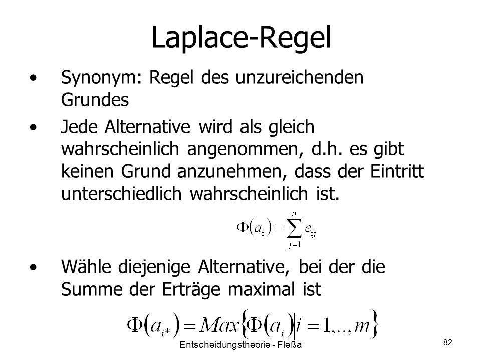 Laplace-Regel Synonym: Regel des unzureichenden Grundes Jede Alternative wird als gleich wahrscheinlich angenommen, d.h. es gibt keinen Grund anzunehm