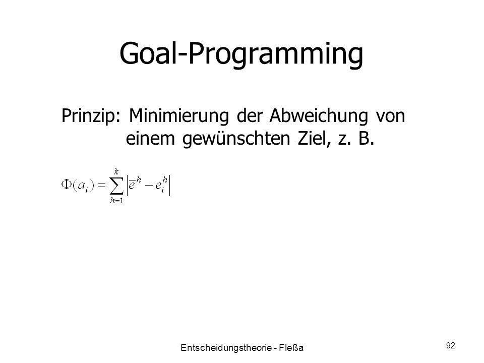 Goal-Programming Prinzip: Minimierung der Abweichung von einem gewünschten Ziel, z. B. Entscheidungstheorie - Fleßa 92