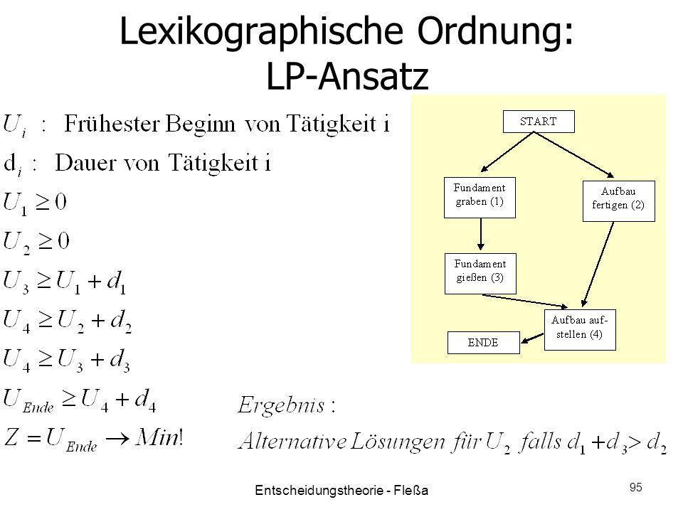 Lexikographische Ordnung: LP-Ansatz Entscheidungstheorie - Fleßa 95