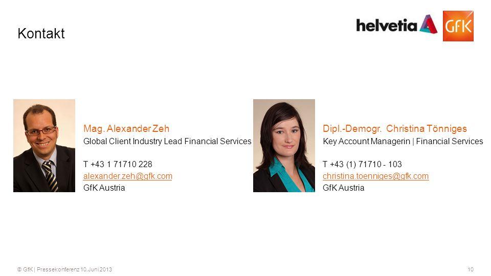 10© GfK | Pressekonferenz 10.Juni 2013 Kontakt T +43 (1) 71710 - 103 Key Account Managerin | Financial Services Dipl.-Demogr.