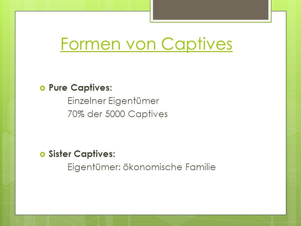 Pure Captives: Einzelner Eigentümer 70% der 5000 Captives Sister Captives: Eigentümer: ökonomische Familie Formen von Captives