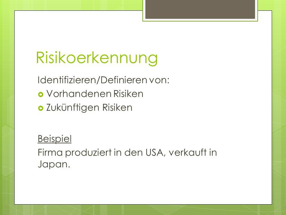 Risikoerkennung Identifizieren/Definieren von: Vorhandenen Risiken Zukünftigen Risiken Beispiel Firma produziert in den USA, verkauft in Japan.