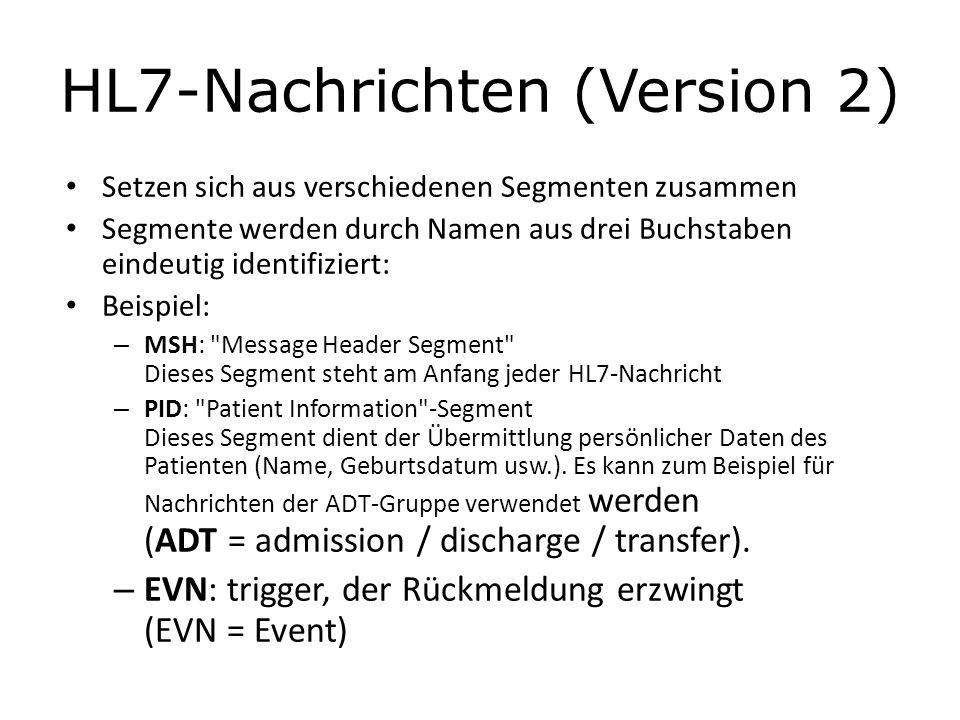 HL7-Nachrichten (Version 2) Setzen sich aus verschiedenen Segmenten zusammen Segmente werden durch Namen aus drei Buchstaben eindeutig identifiziert:
