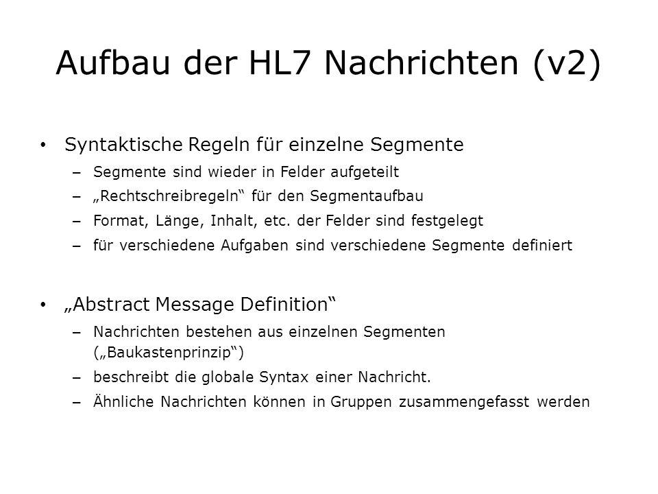 Aufbau der HL7 Nachrichten (v2) Syntaktische Regeln für einzelne Segmente – Segmente sind wieder in Felder aufgeteilt – Rechtschreibregeln für den Seg