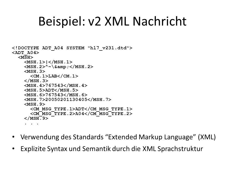 Beispiel: v2 XML Nachricht Verwendung des Standards Extended Markup Language (XML) Explizite Syntax und Semantik durch die XML Sprachstruktur | ^~\&am