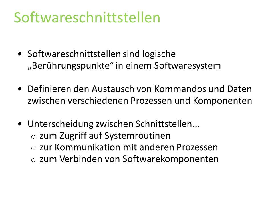 Softwareschnittstellen Softwareschnittstellen sind logische Berührungspunkte in einem Softwaresystem Definieren den Austausch von Kommandos und Daten